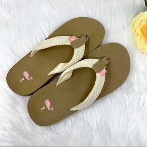 Vineyard Vines Rope Pink Cream Tan Sandals Size 9